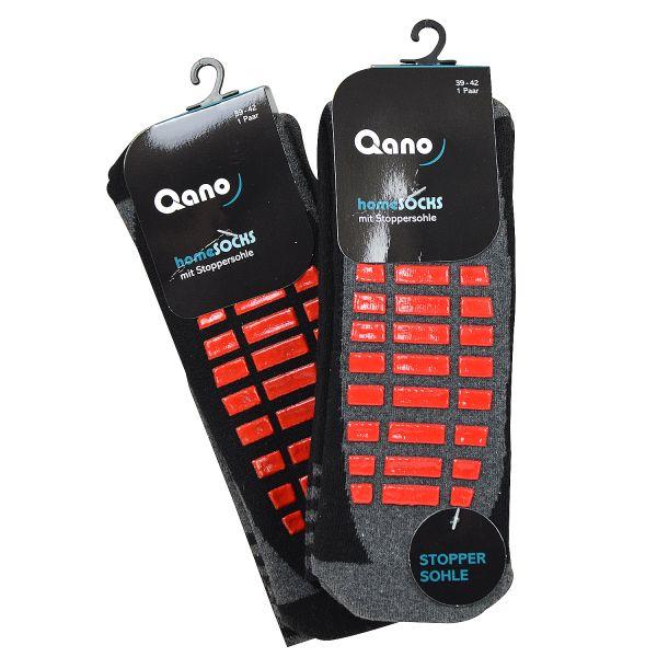 Qano 4060-5 Unisex 2er Pack Socken mit roter Stoppersohle grau und schwarz
