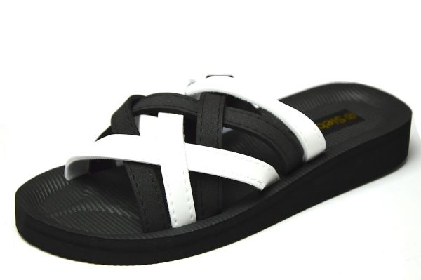 Siebi`s Beach black/ white Bade- und Duschpantolette schwarz/ weiß
