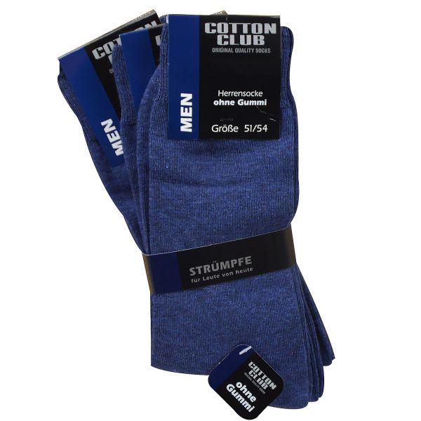 Cotton Club 4065-2-J 3er Pack Herren Socken ohne Gummi Baumwolle jeansblau bis Gr. 54