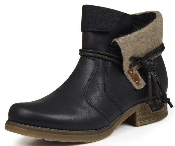 Rieker 79693-00 Damen Stiefeletten schwarz kombi