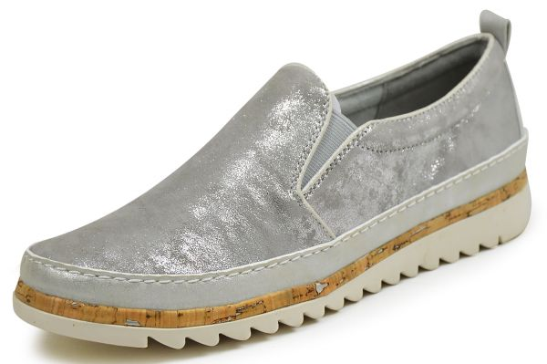 Jana 8-24600-28 Damen Slipper grau/silber