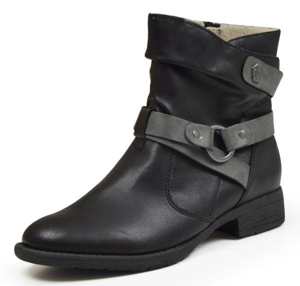 Jana Soft Line 25465 Damen Biker Boots Weite H, schwarz