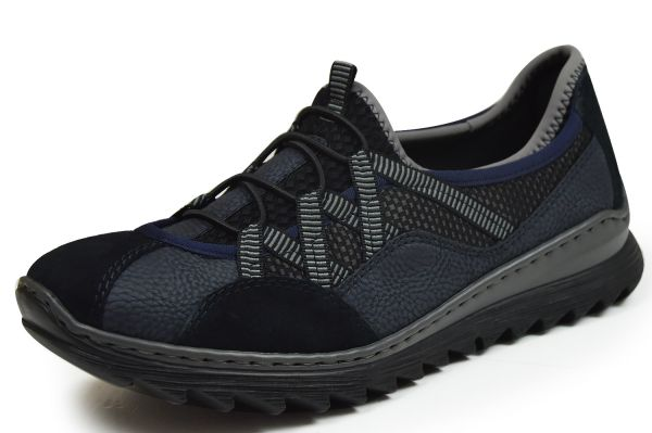 Rieker M6251-14 Damen Slipper, Sneaker Softfoam blau kombi