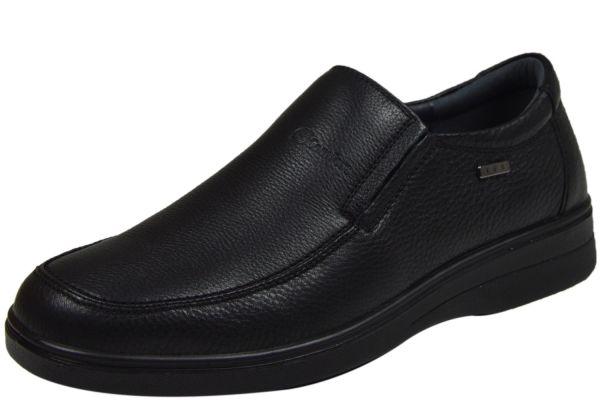 Grünwald A-905 wasserabweisender Herren Komfort Slipper, Wechselfußbett, schwarz