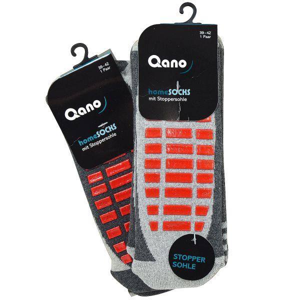 Qano 4060-5 Unisex 2er Pack Socken grau mit roter Stoppersohle