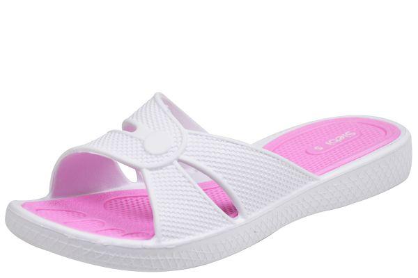 Siebi´s Föhr Damen Dusch- und Badepantoletten weiß / pink