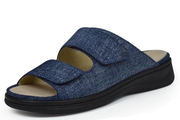 Grünwald 2212 Damen Pantoletten Wechselfußbett Weite H blau ( jeans )