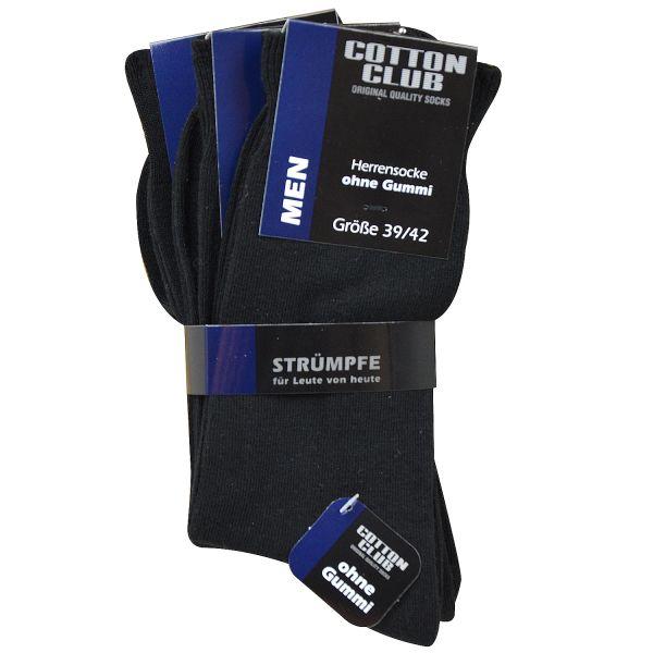 Cotton Club 4075-2 6er Pack Herren Socken ohne Gummi bis Größe 54 schwarz
