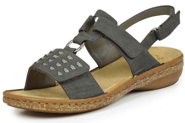 Rieker 62883-45 Damen Sandalen mit Klettverschluss grau