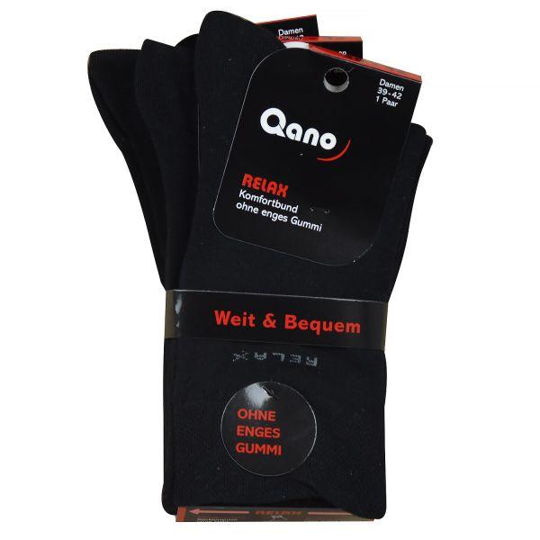 Qano Relax 2021-2, 3er Pack Damen Socken ohne enges Gummi schwarz