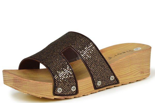 Siebi`s Como Damen Pantoletten Holzoptik braun