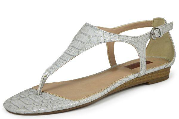 s.Oliver Premium 5-28203-24 Damen Zehentrenner-Sandalen Soft Foam silver snake