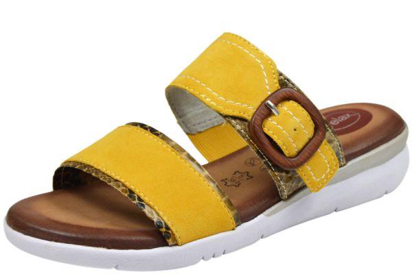 Jana 8-27107-24 Komfort Damen Pantoletten gelb (saffron comb.)