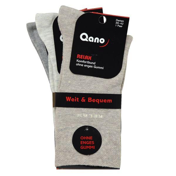 Qano Relax 4072-2-B 3er-Pack Herrensocken ohne enges Gummi Beige- / Grautöne