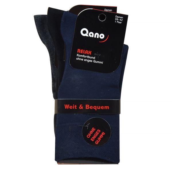 Qano Relax 2021-2, 3er Pack Damen Socken Diabetiker geeignet ohne enges Gummi schwarz, anthrazit, bl