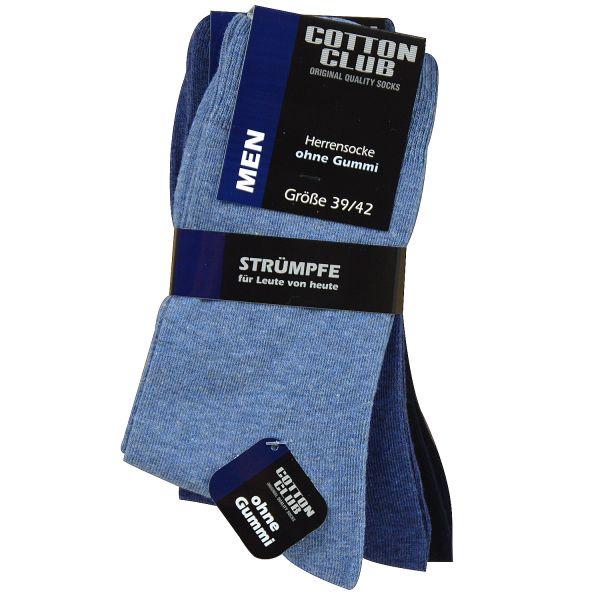 Cotton Club 4032-3 3er Pack Herren Socken ohne Gummi Baumwolle blau