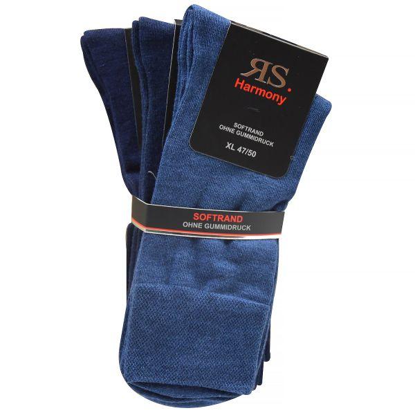 RS Harmony 31215 3er Pack Herren Socken ohne Gummidruck Übergröße blau sortiert