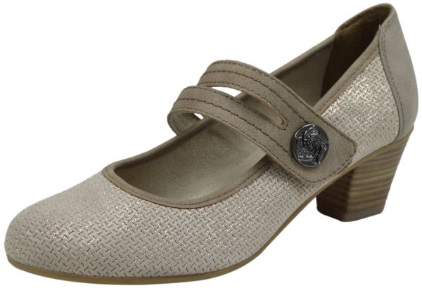 Jana 8-24332-24 Damen Pumps Weite H beige ( pepper/ lt gold )
