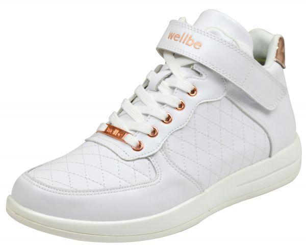 Wellbe Miami Damen knöchelhoher Sneaker/ Stiefeletten weiß