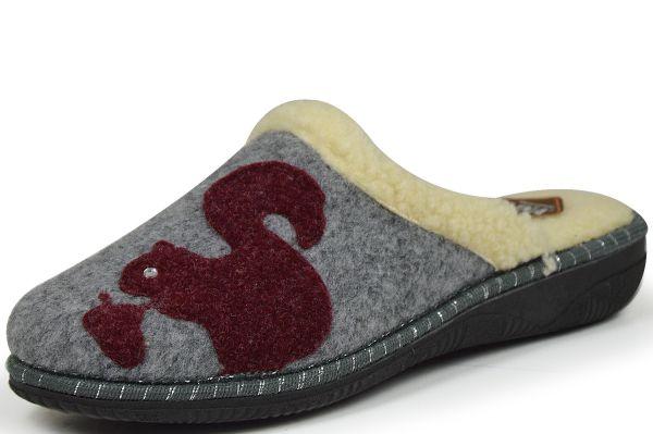 Lina 85050 Damen Pantoffeln grau/ rot