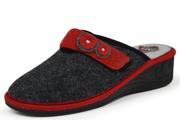 Lina 95930 Damen Pantoffeln grau / rot