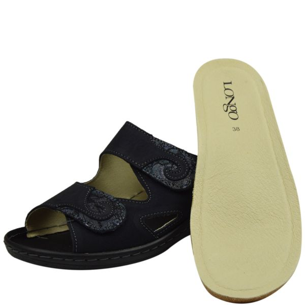 Longo 1005327 Damen Pantoletten blau/schwarz ( navy/schwarz)