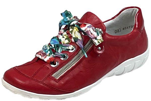 Remonte R3435-33 Damen Schnürschuhe mit seitlichem Reißverschluss rot