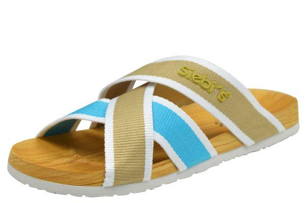 Siebi`s Stripes Dusch- und Badepantoletten türkis / beige