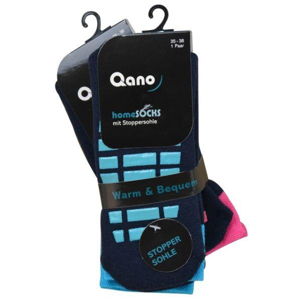 Qano home 2er Pack ABS Stoppersocken unisex marine . pinkfarbene Stopper und türkise Stopper