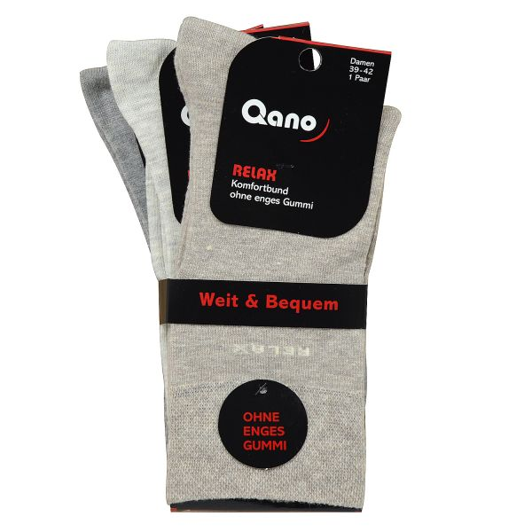 Qano 2021-2 Relax 3er- Pack Damen Socken ohne enges Gummi Beige / Grautöne