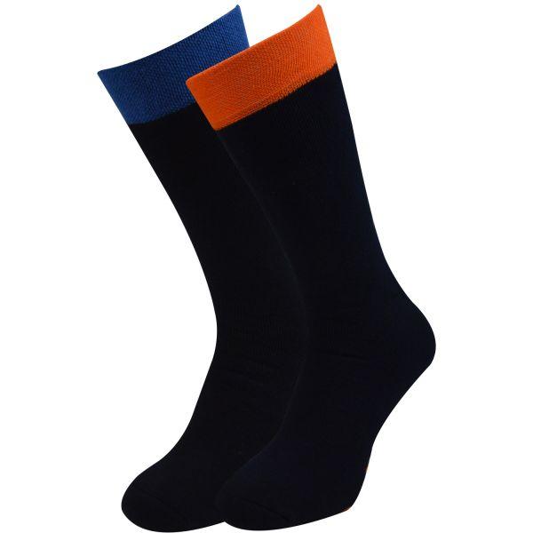 Qano 4012-2 home unisex 2er Pack ABS Stoppersocken dk-blau mit blauen und orangen Stoppern