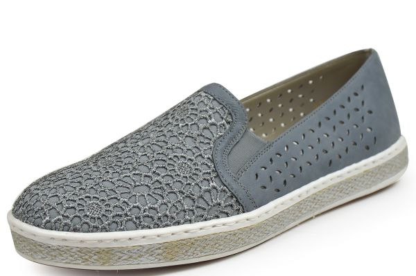 Rieker M8555-14 Damen Slipper blau