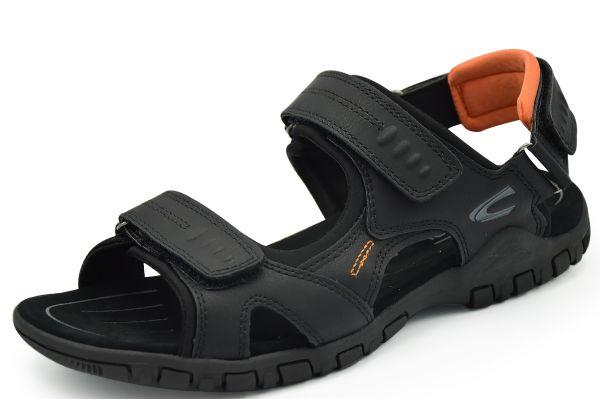 Camel aktive Ocean Nappa Herren Sandalen Klettverschluß schwarz / orange