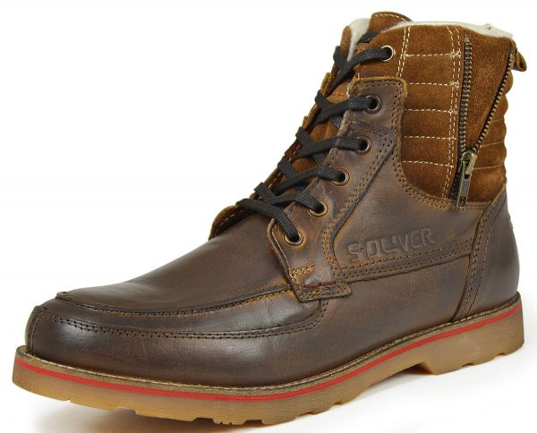 s.Oliver 5-16247-35 Herren Combat Boots Schurwolle mocca (braun)