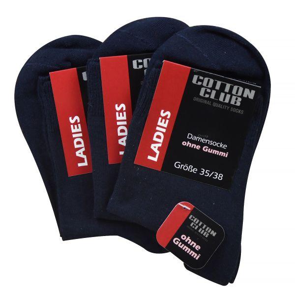 Cotton Club 2095 3er Pack Damen Socken ohne Gummi blau ( marine )