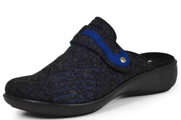 Romika Ibiza Home 306 Damen Pantoffeln Wollfilz Wechselfußbett anthrazit