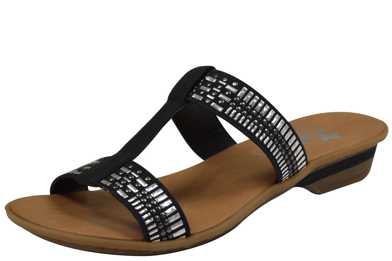 Rieker 63454 Damen Pantoletten schwarz | Schuhpyramide nmlLm