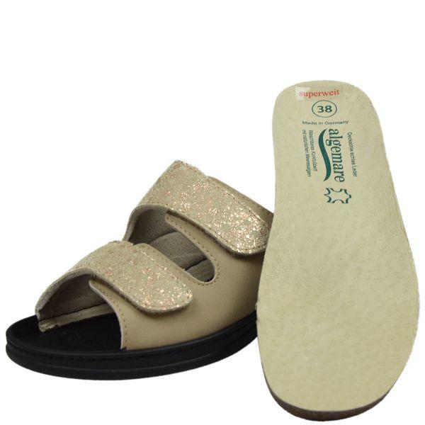 Algemare 4452-3931 Damen Pantoletten beige ( jute Nappino/ melange )