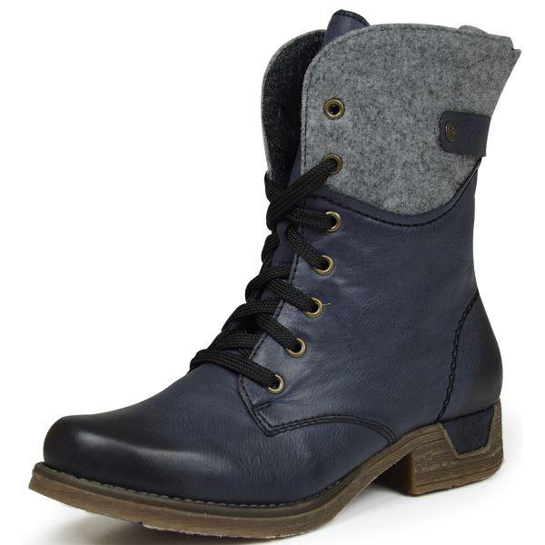 Rieker 79604-14 Damen Combat Boots Schurwolle blau kombi