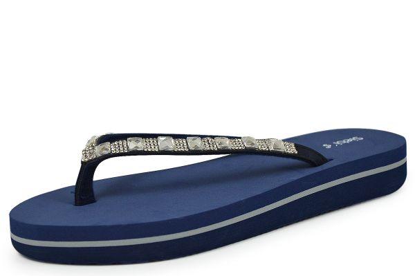Siebi`s Siena Damen Bade- und Duschpantoletten Zehentrenner blau