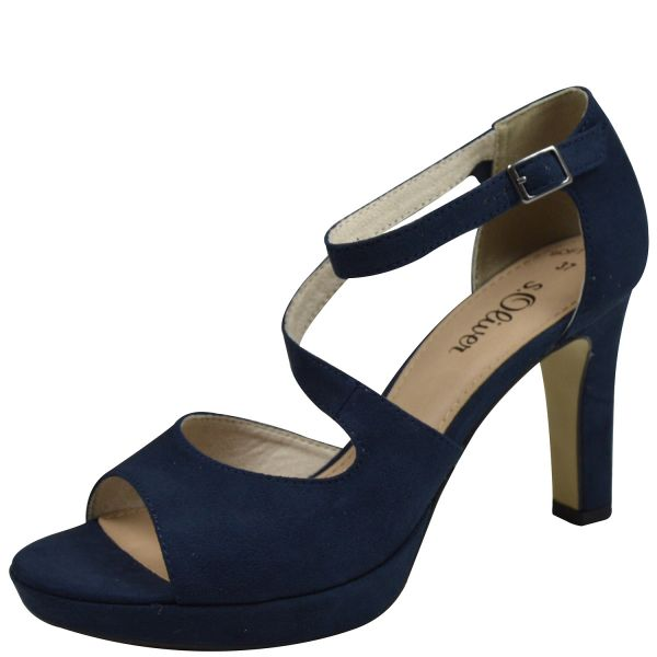 s.Oliver 5-28323-22 Soft Foam Damen Peeptoe Pumps blau ( navy )