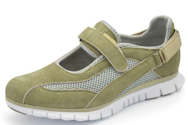 Grünwald F-611-8 Damen Sneaker Wechselfußbett Klettverschluß khaki