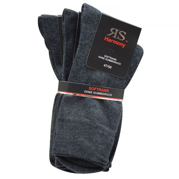 RS Harmony 3er Pack Herren Socken ohne Gummidruck Übergröße anthrazit