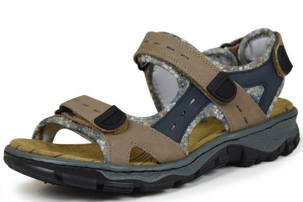 Rieker 68872-25 Damen Sandalen mit Klettverschluss braun kombi