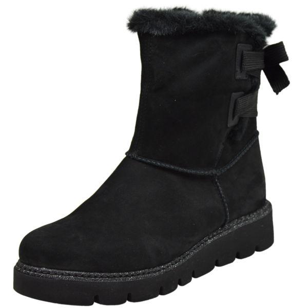 Remonte R8074-02 Damen Kurzschaft Stiefel Lammfell schwarz