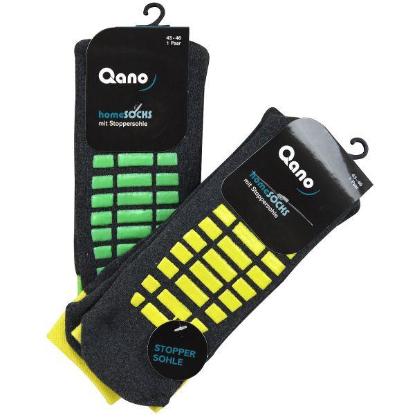 Qano home 4012-2 2er Pack ABS Stoppersocken unisex anthrazit / gelbe und grüne Stopper