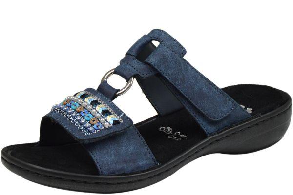 Rieker 608P6-14 Damen Pantoletten blau