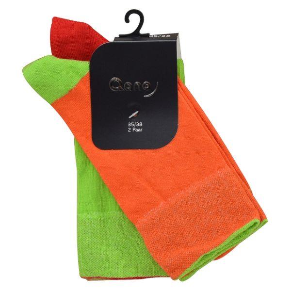 Qano 7006 2er Pack Damen Socken ohne enges Gummi orange und grün