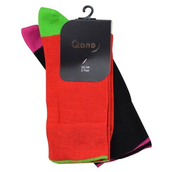 Qano 7006 2er Pack Mädchen/ Damen Socken ohne enges Gummi rot und schwarz