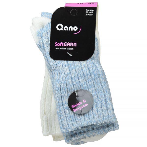 Qano 2048 Damen-Softsocken blau meliert/ natur meliert